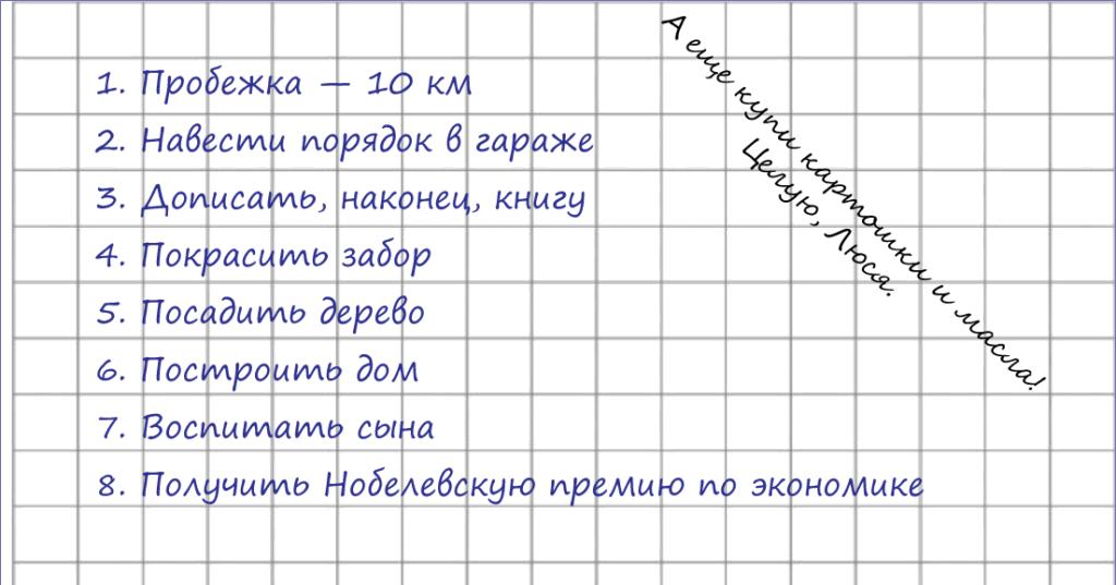 Амбициозный список дел