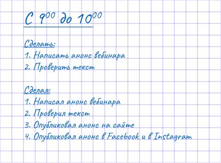 Пример «миниплана»