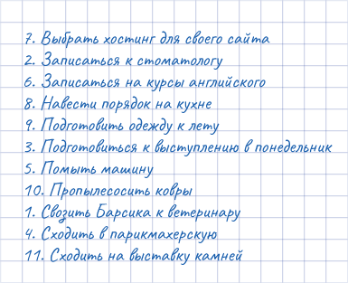 Список по методу Шваба
