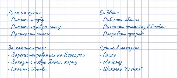 Примеры группировки задач в списке