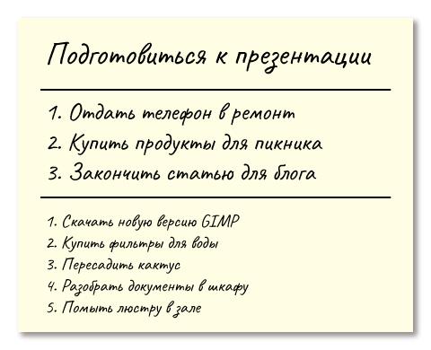 Пример списка дел по методу 1-3-5