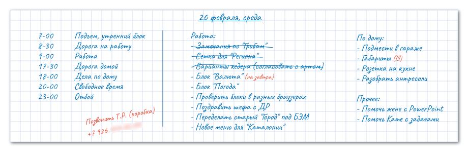 Список дел на обычной бумаге