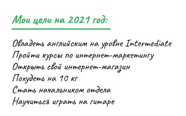 Список целей на год