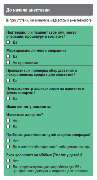 Чек-лист подготовки к операции (фрагмент)