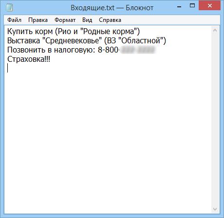 Текстовый файл для сбора входящей информации